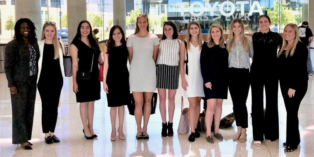 Professor Eaddy and her students at the Toyota headquarters in Plano, TX.
