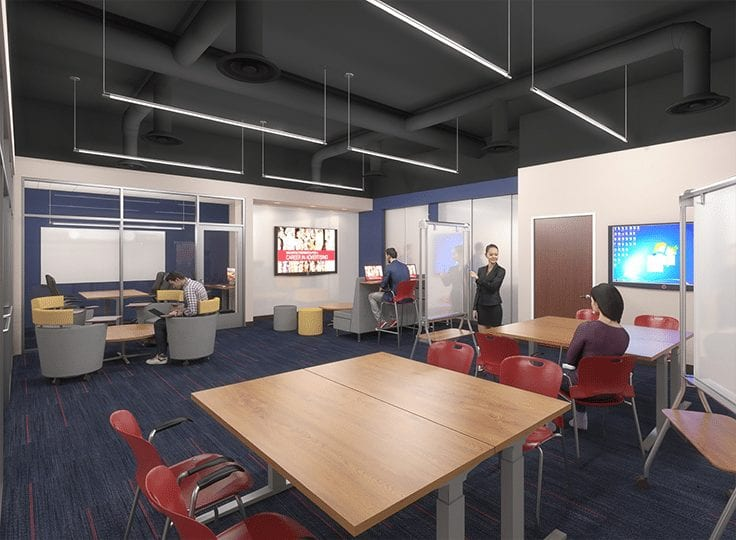 Student area within renovated CCPA space