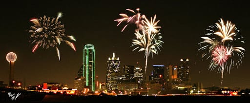 Fourth of July festivities with the Dallas skyline in 2005