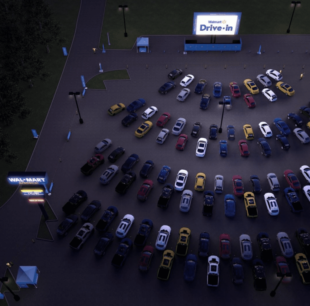 Sneak peak at Walmart pop-up drive-in theatre in Dallas, Texas