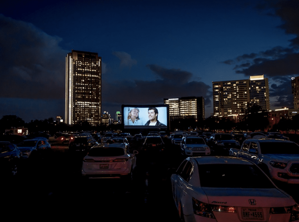 The Drive-in at Central at Rooftop Cinema Club in Dallas, Texas