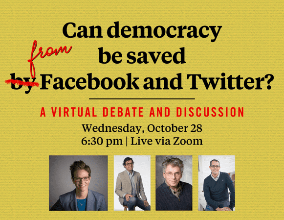 Join the Maguire Center for Ethics this Wednesday at 6:30 pm for a discussion and debate about social media's influence on democracy.